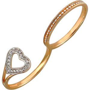 Кольцо на два пальца Сердце с фианитами из красного золота (арт. ж-8594к)