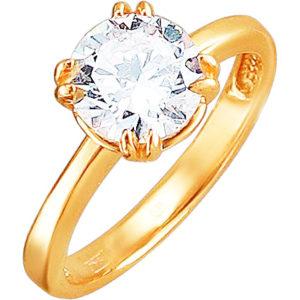 Кольцо с 1 фианитом из красного золота (арт. ж-7632к)
