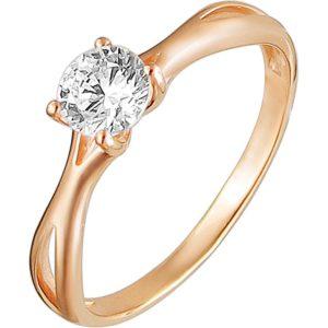 Кольцо с 1 фианитом из красного золота (арт. ж-8062к)