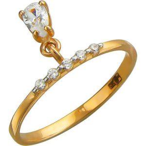 Кольцо Капля с подвеской с фианитами из красного золота (арт. ж-8250к)