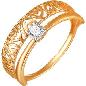 Кольцо с 1 фианитом из красного золота (арт. ж-7927к)