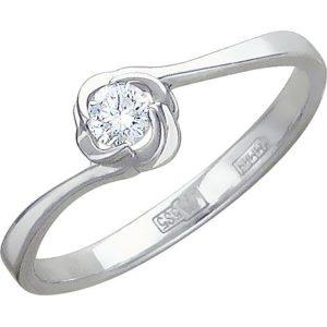 Кольцо с 1 фианитом из белого золота (арт. ж-7762к)