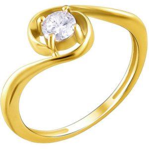 Кольцо с 1 фианитом из жёлтого золота (арт. ж-7890к)