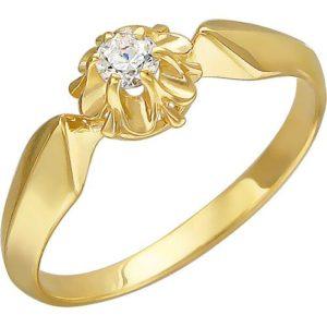 Кольцо с 1 фианитом из жёлтого золота (арт. ж-7856к)