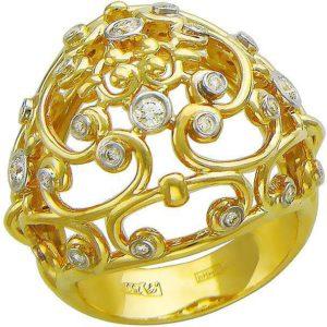 Кольцо с фианитами из желтого золота (арт. ж-8445к)
