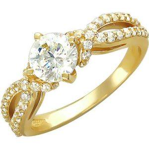 Кольцо с фианитами из желтого золота (ж-9к)
