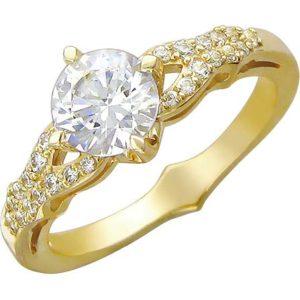 Кольцо с фианитами из желтого золота (ж-10к)