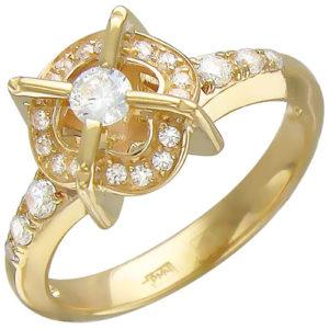 Кольцо с фианитами из желтого золота (арт.ж-8436к)