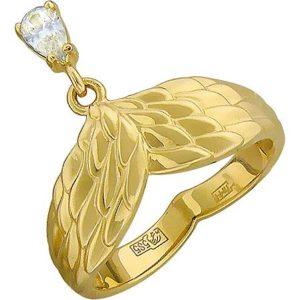 Кольцо Крылья с 1 фианитом из жёлтого золота (арт. ж-7855к)