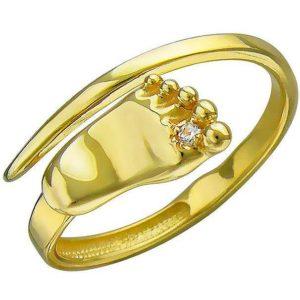 Кольцо безразмерное Пяточка фианитом из желтого золота (арт. ж-8618к )