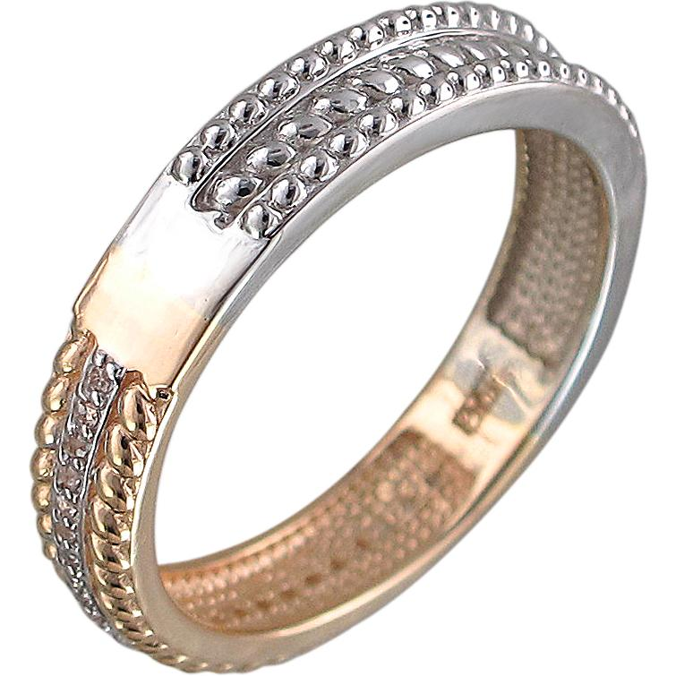 Кольцо с фианитами из комбинированного золота (арт.ж-8417к)