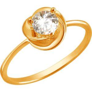 Кольцо с 1 фианитом из красного золота (арт. ж-8287к)
