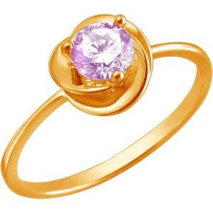 Кольцо с 1 фианитом из красного золота (арт. ж-8221к)