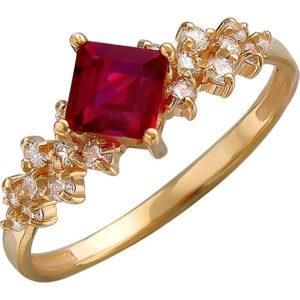 Кольцо с рубином, фианитами из красного золота (арт. ж-8437к)