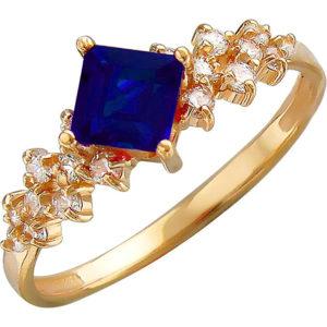 Кольцо с сапфиром, фианитами из красного золота (арт. ж-8480к)