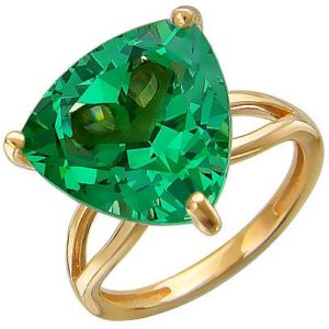 Кольцо с 1 изумрудом из красного золота (арт. ж-7874к)