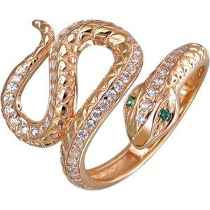 Кольцо Змейка с фианитами и изумрудами из красного золота (арт. ж-7848к)