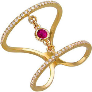 Кольцо с рубином, фианитами из желтого золота (арт. ж-8723к)