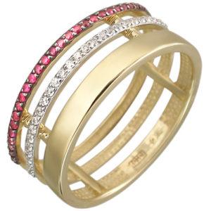 Кольцо с рубинами, фианитами из желтого золота (арт. ж-8597к)
