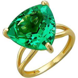 Кольцо с 1 изумрудом из жёлтого золота (артж-9631к)