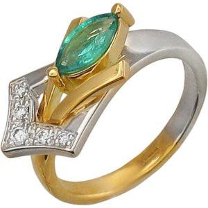 Кольцо с изумрудом и фианитами из комбинированного золота (арт. ж-8109к)