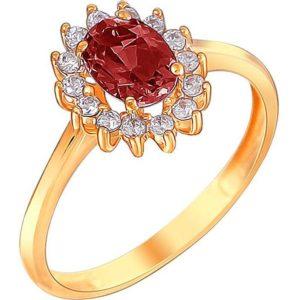 Кольцо с гранатом и фианитами из красного золота (арт. ж-7851к)