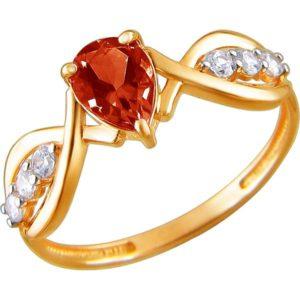 Кольцо с гранатом и фианитами из красного золота (арт. ж-7940к)