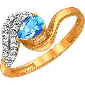 Кольцо с топазом и фианитами из красного золота (арт. ж-7826к)