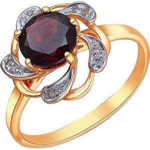 Кольцо с гранатом и фианитами из красного золота (арт. ж-7888к)