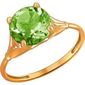 Кольцо с 1 хризолитом из красного золота (арт. ж-8253к)