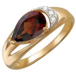 Кольцо с гранатом и фианитами из красного золота (арт. ж-7805к)