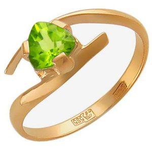 Кольцо с 1 хризолитом из красного золота (арт. ж-7862к)