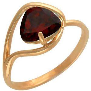 Кольцо с 1 гранатом из красного золота (арт. ж-7861к)