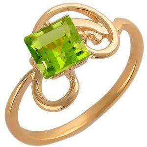 Кольцо с 1 хризолитом из красного золота (арт. ж-8074к)