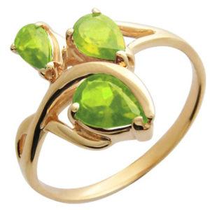 Кольцо с хризолитом из красного золота (ж-8305к)