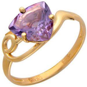 Кольцо с 1 аметистом из красного золота (арт. ж-7849к)