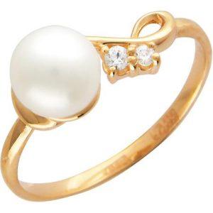 Кольцо с 1 жемчугом, 2 фианитами из красного золота (арт. ж-7633к)