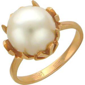 Кольцо с 1 жемчугом из красного золота (арт. ж-7804к)