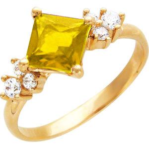 Кольцо с фианитами, цитрином из красного золота (арт.ж-8646к)