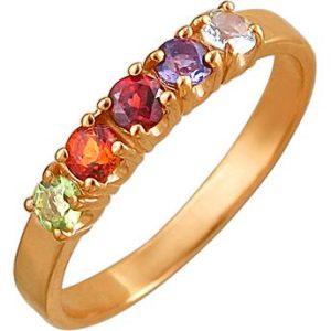 Кольцо с россыпью цветных камней из красного золота (арт.ж-9771к)