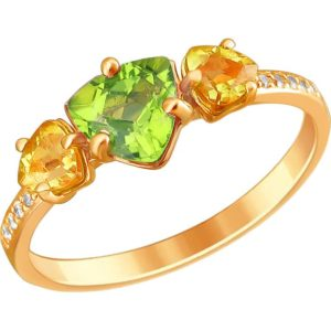 Кольцо с хризолитом, цитринами и фианитами из красного золота (арт. ж-8300к)