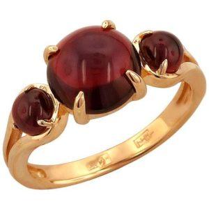 Кольцо с 3 гранатами из красного золота (арт. ж-8118к)