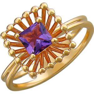 Кольцо с аметистом из красного золота (арт. ж-8643к)