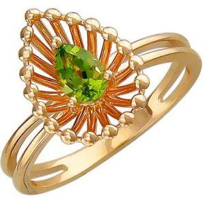 Кольцо с хризолитом из красного золота (арт. ж-8608к)