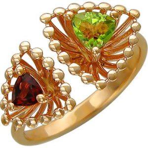 Кольцо безразмерное с гранатом, хризолитом из красного золота (ж-8640к)