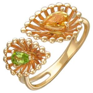Кольцо безразмерное с хризолитом, цитрином из красного золота (арт. ж-8616к)