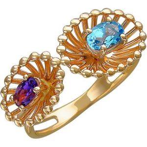 Кольцо с топазом и аметистом из красного золота (арт. ж-8100к)
