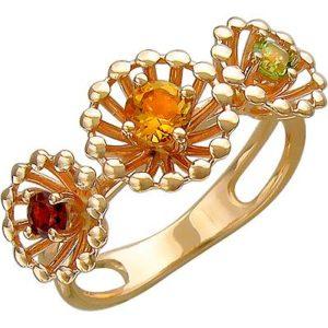 Кольцо с гранатом, хризолитом, цитрином из красного золота (арт. ж-8615к)