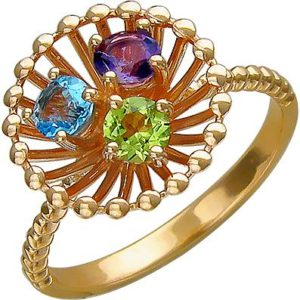 Кольцо с аметистом, хризолитом, цитрином из красного золота (арт. ж-8629к)