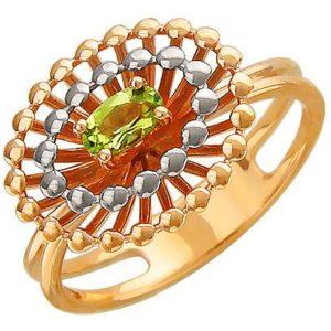 Кольцо с хризолитом из красного золота (ж-8639к)